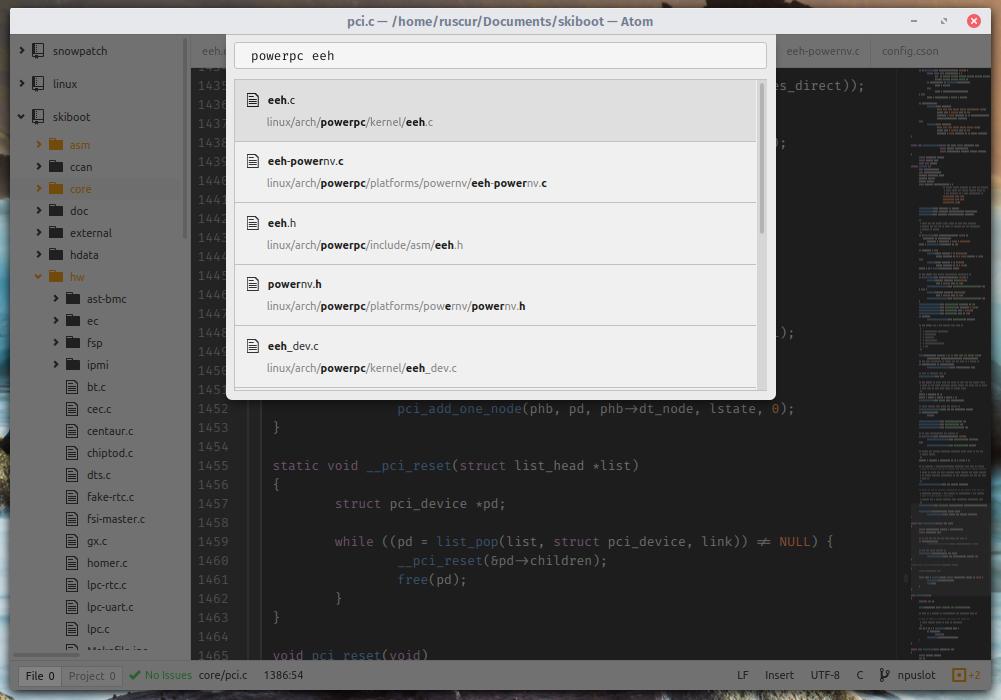 Using the Atom editor for Linux kernel development — Store Half Byte